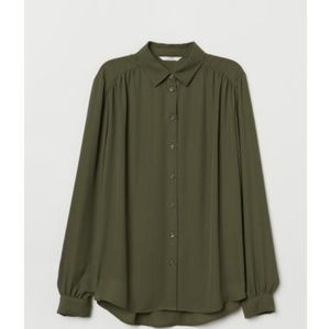 H&M Button Down Blouse - Forest Green